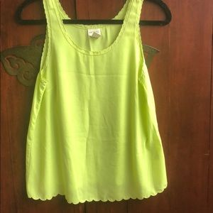 Chartreuse scalloped tank top